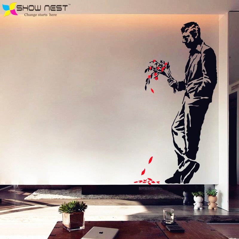 Banksy Graffiti Art Wall Decal Vinyl Sticker Men Bouquet Mural