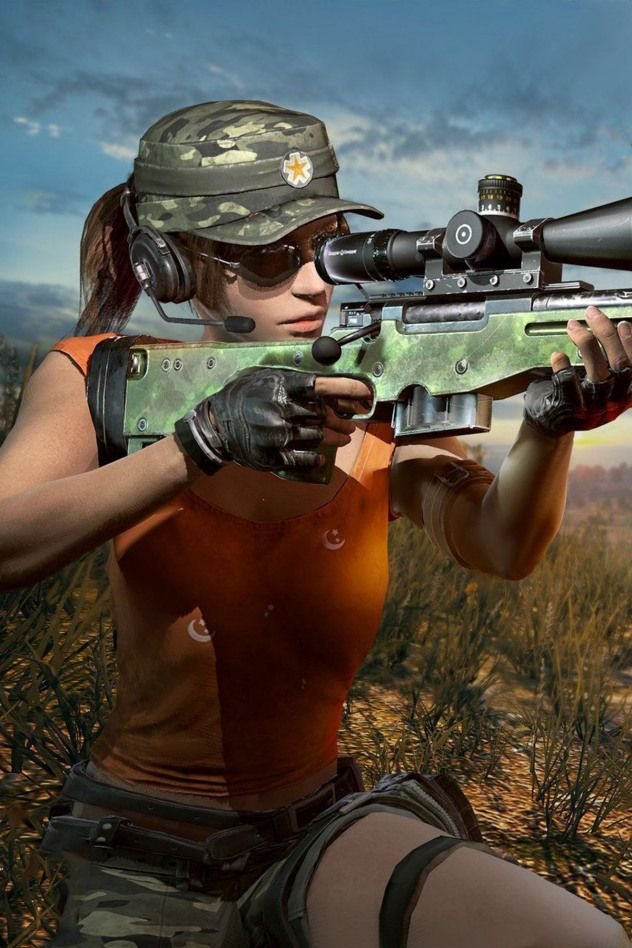 PUBG girl player with AWM snipper 8x zoom mobile wallpaper