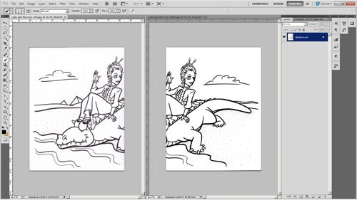 Tutorial Digitally Coloring A Hand Drawn Line Drawing In Photoshop How To Draw Hands Drawings Line Drawing