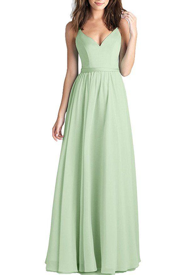 699b21c686 Kevins Bridal Chiffon V-Neck Long Prom Dresses Spaghetti Straps ...