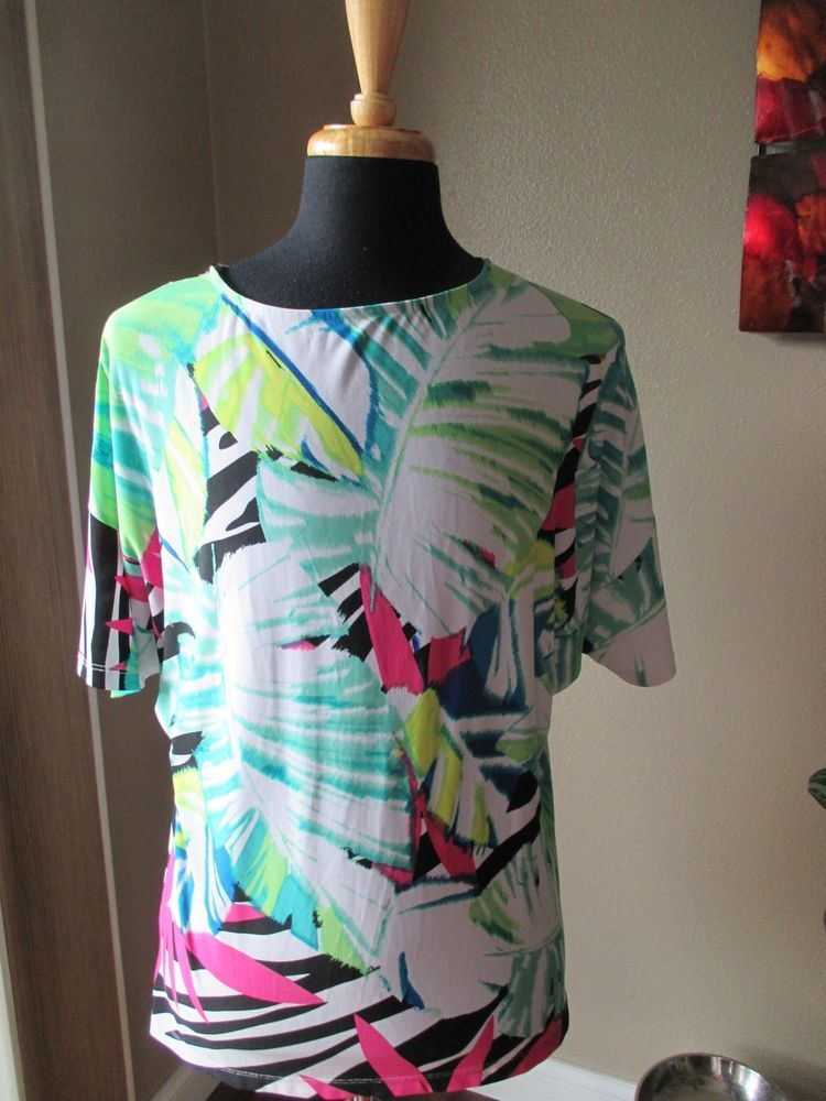 Unbranded Women's Multi-colored Short Sleeve Blouse Size XL #Unbranded #Blouse #Casual