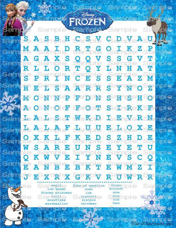 Disney Frozen Word Search Printable