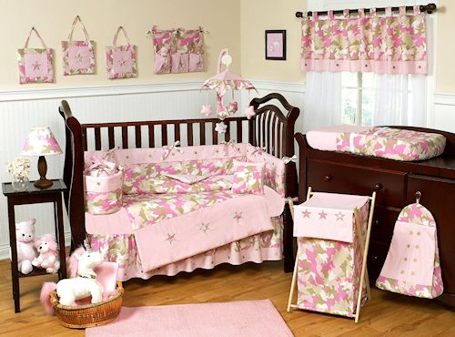 Pink Camo Crib Bedding - 9pc Pink Army Camouflage Baby Girl | Babies ...