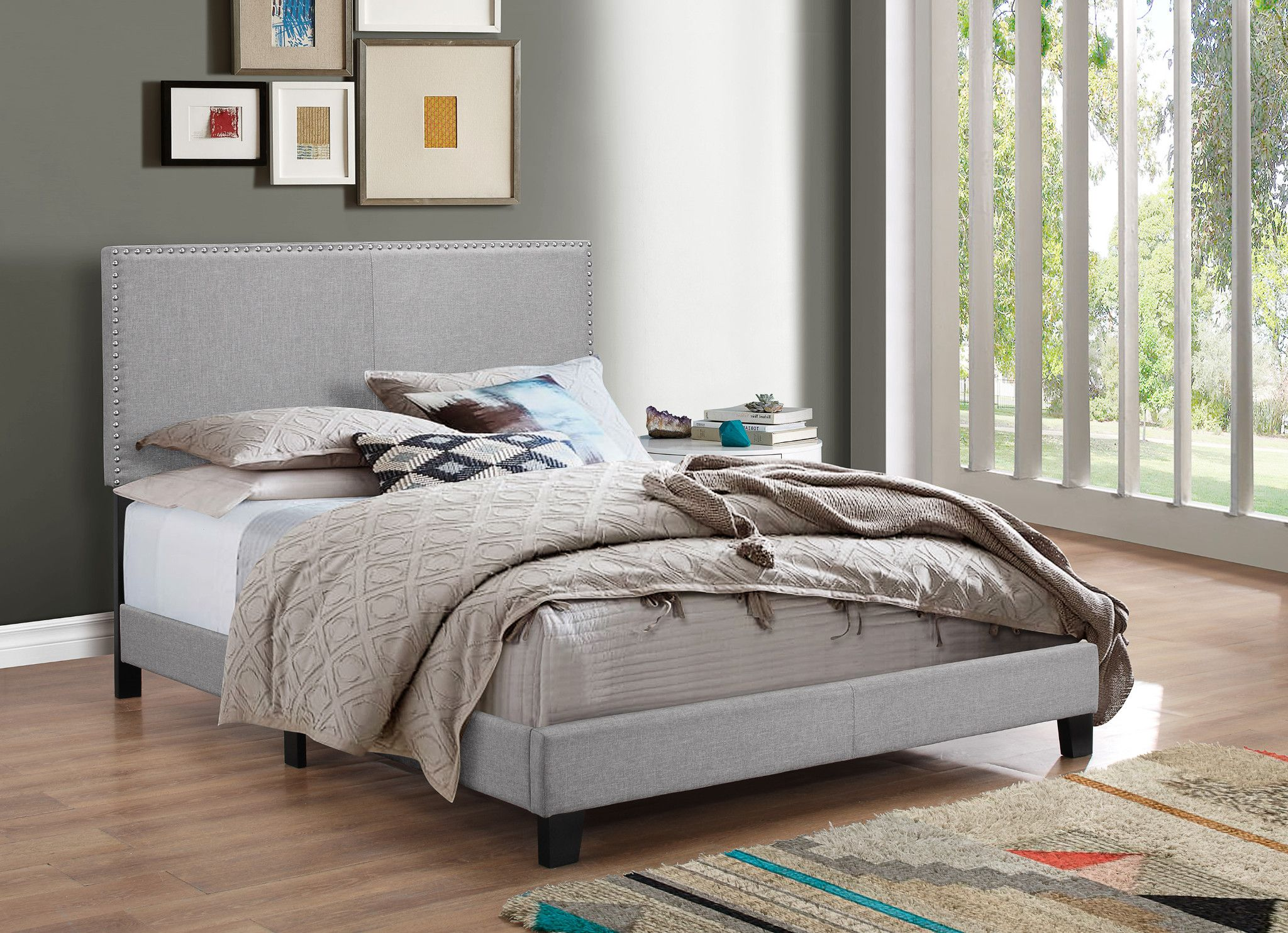 Erin Bed Queen or Full $225.00 Gray with nailhead accents Q - 66
