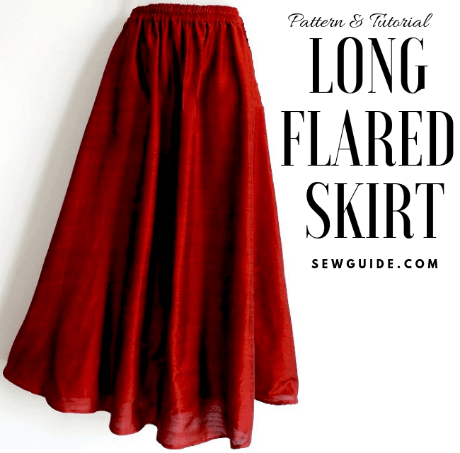 Make a long flared skirt {Free Size} Sewing Pattern & Tutorial - Sew Guide #flaredskirt
