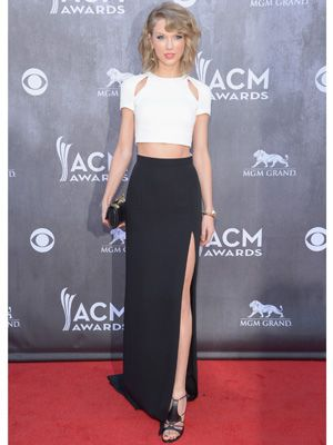 Steal Taylor Swift's Gorge Black & White Crop-Top & Long Skirt For ...