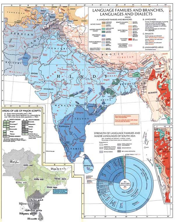south asia languages map