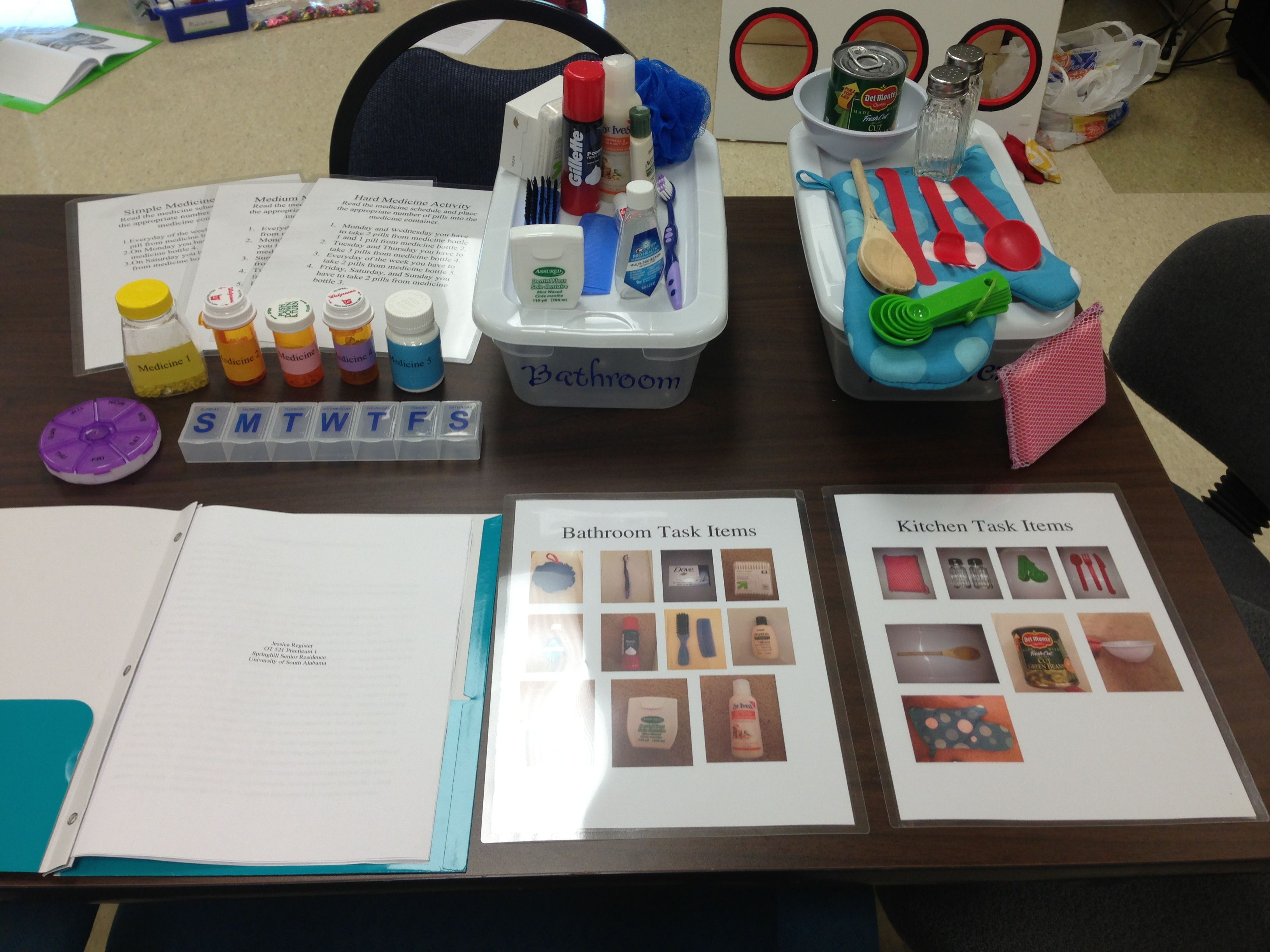 Sorting activity focusing on ADLs Kitchen and bathroom items