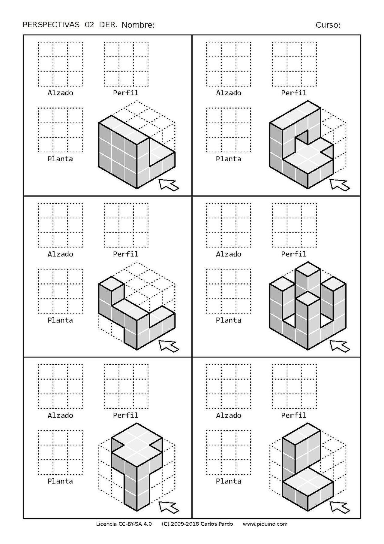 Ejercicios De Vistas Y Perspectivas Alzado Derecho Piezas Con Vistas Ocultas V01 Geometric Drawing Isometric Drawing Isometric Drawing Exercises