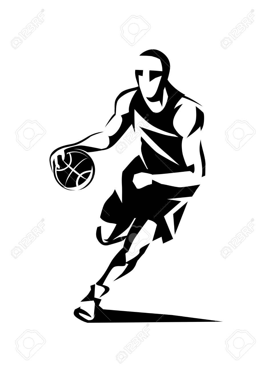 Basketball Player Stylized Vector Silhouette Logo Template In Outlined Sketch Style Ad Vector Silh Illustrator Inspiration Stylized Basketball Players