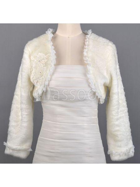 Cheap Long Sleeved Faux Fur Winter Bridal Jacket ms60nn876