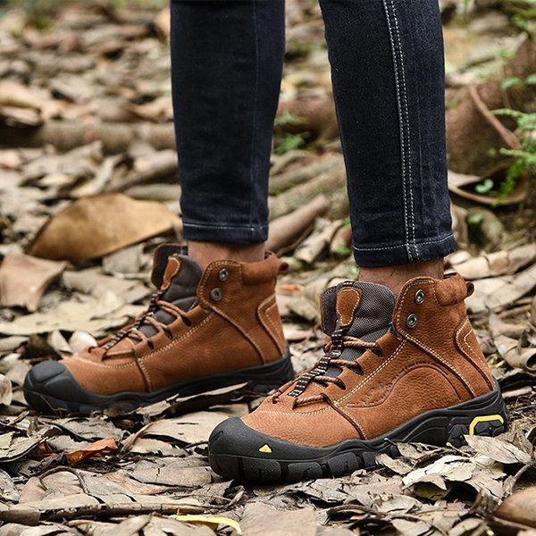 1e529395 Men Cow Leather Plush Lining Non-slip Wear-resistant Casual Shoes ...