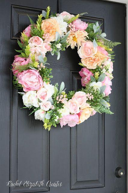 Diy Floral Wreath Tutorial Rachel Elizabeth Creates Diy Floral Wreath Spring Floral Wreath Diy Spring Wreath
