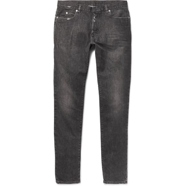 Maison Margiela Slim-Fit Distressed Washed-Denim Jeans ($545) ❤ liked on Polyvore featuring men's fashion, men's clothing, men's jeans, mens destroyed jeans, mens distressed jeans, mens slim jeans, mens ripped jeans and mens torn jeans