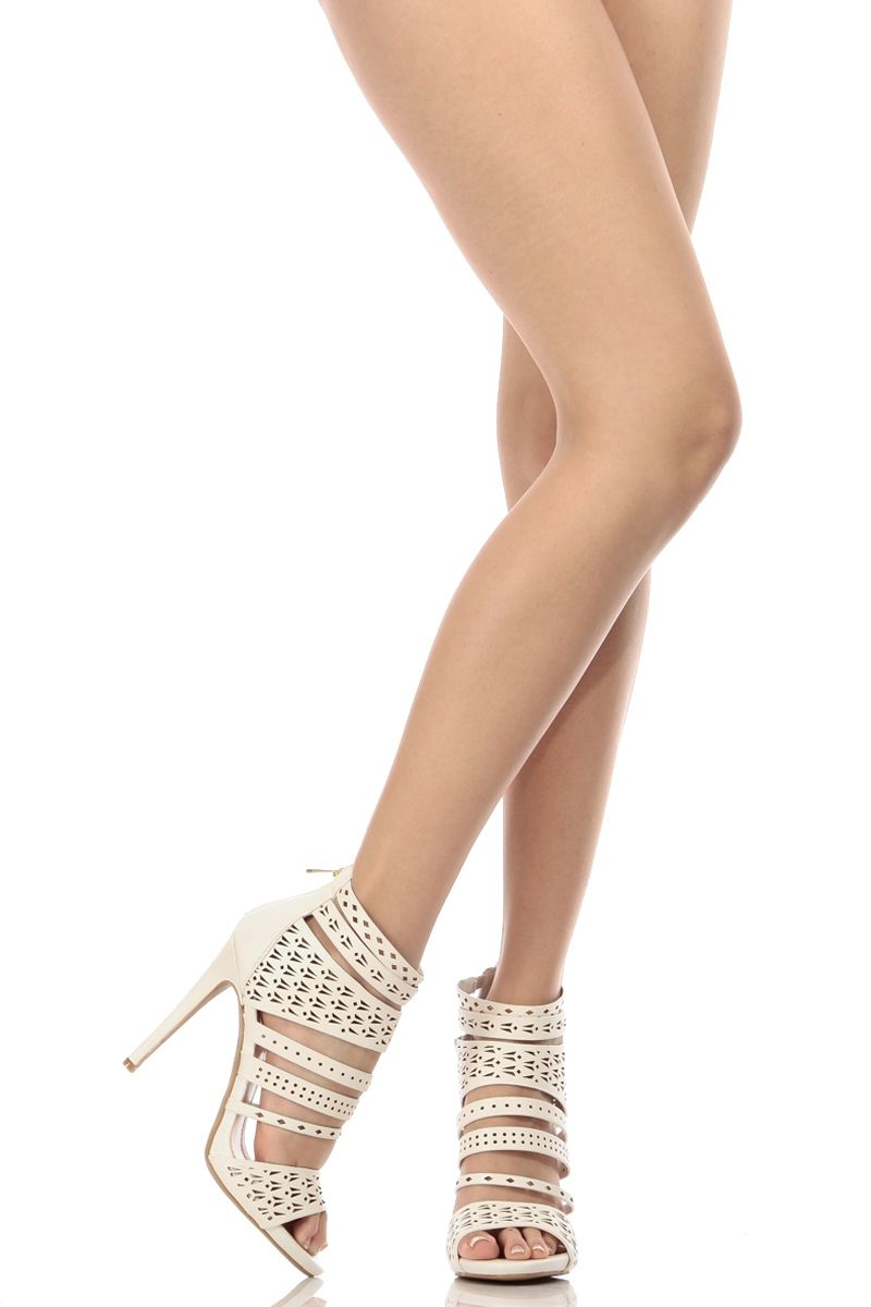 f8b237bd35c White Faux Leather Laser Cut Strappy Open Toe Heels   Cicihot Heel Shoes  online store sales Stiletto Heel Shoes