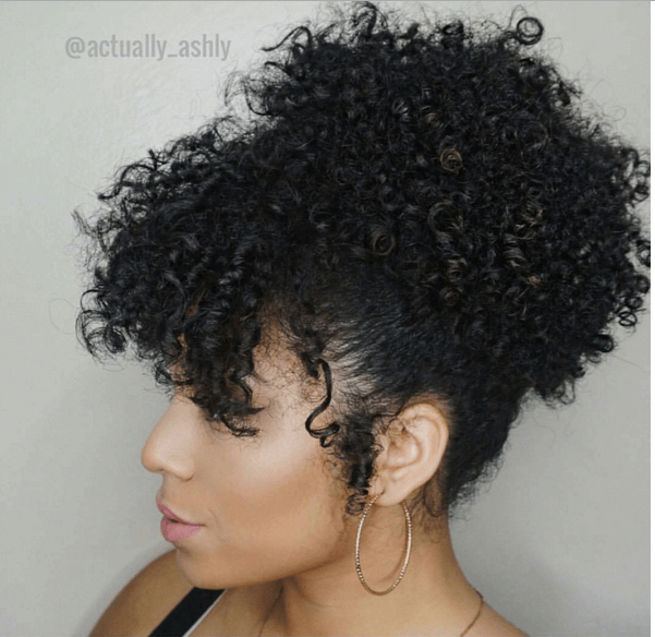 Try This Quick Updo High Puff With Bangs For An Easy Style In Under 5 Minutes Curlybangs Natural Hair Styles Curly Hair Styles Naturally Curly Hair Styles