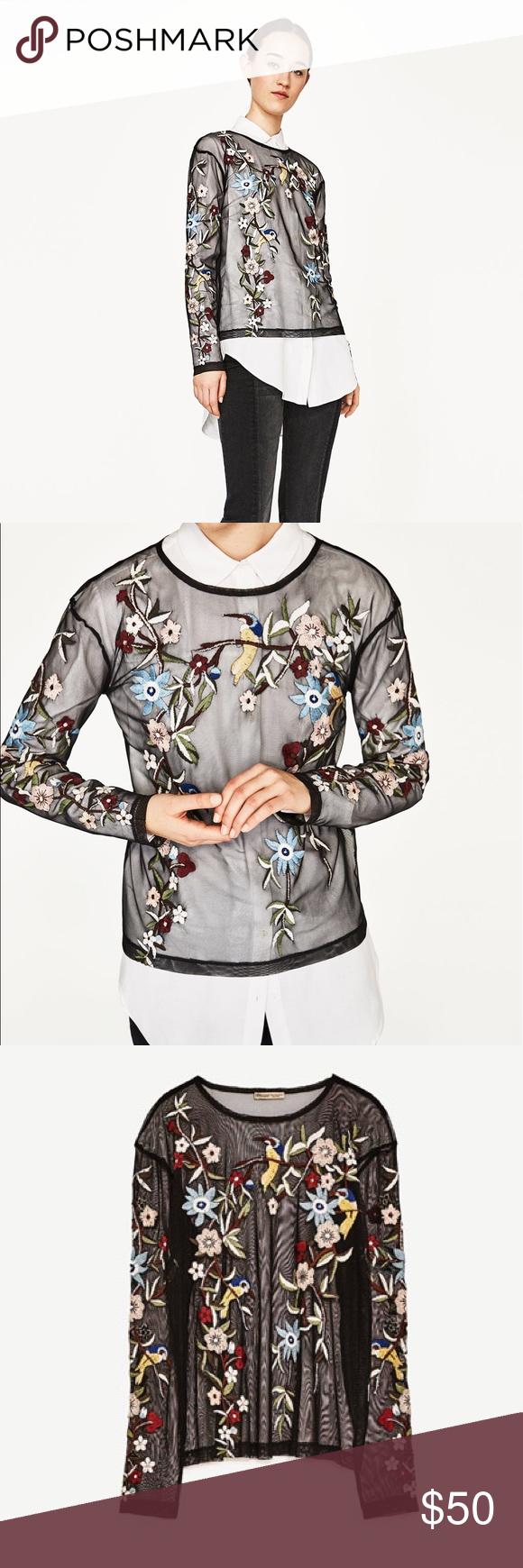 ZARA embroidered tulle top Beautiful brand new ZARA