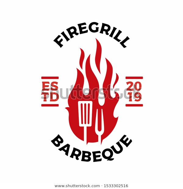 Grill Fork Spatula Fire Flame Logo Stock Vector (Royalty