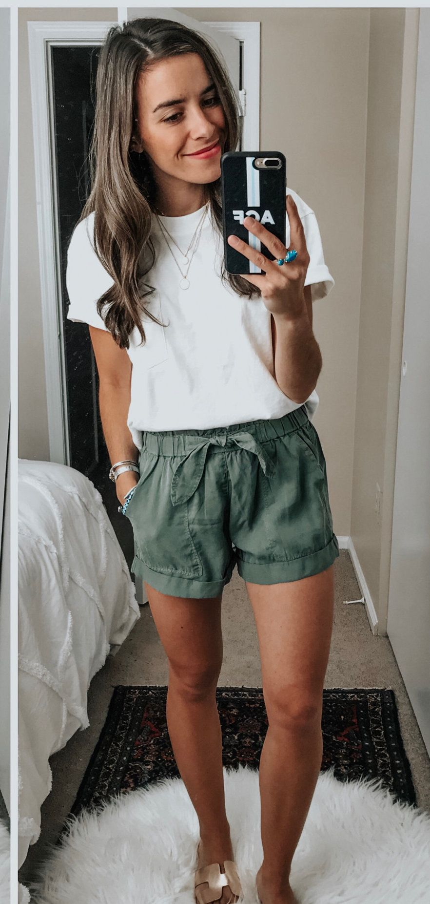 gray shorts #spring #outfits | Summer outfits, Spring