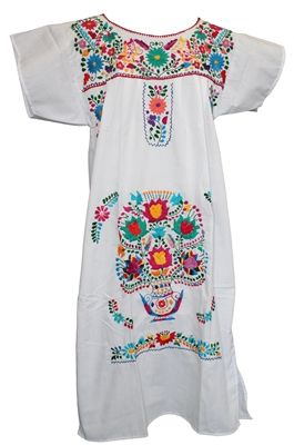 e96ce81535a68b MEXICAN EMBROIDERED PUEBLO DRESS - White  officialfiesta  mexicandress   fiesta  fiestadecor  dresses  fashionistas at www.officialfiesta.com