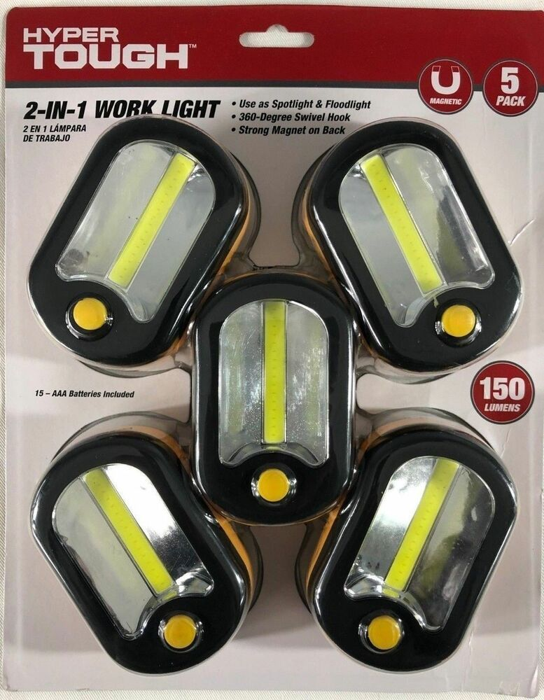 2 In 1 Magnetic Work Light 5 Pack 150 Lumens With 360 Degree