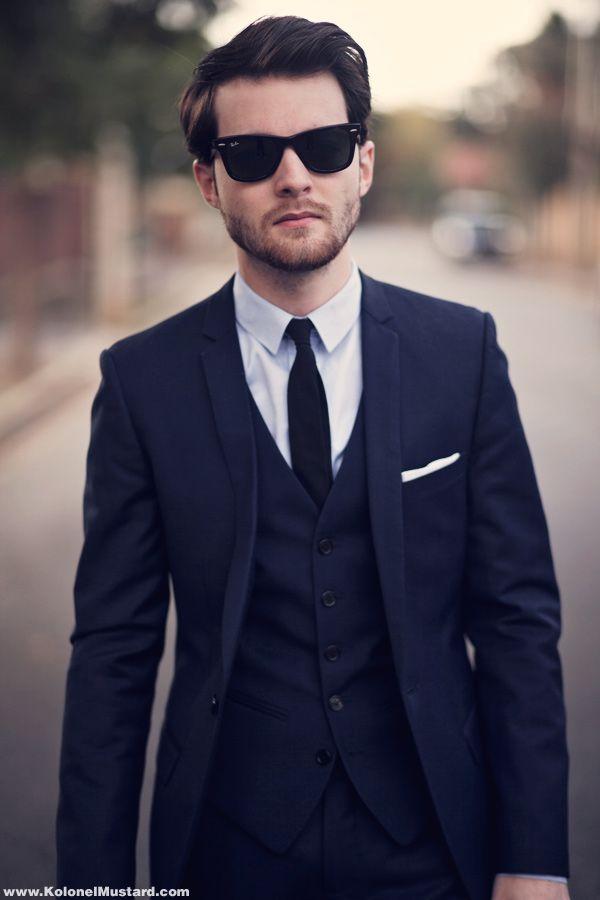 f473d4f3b3c1 Navy suit, black tie. |