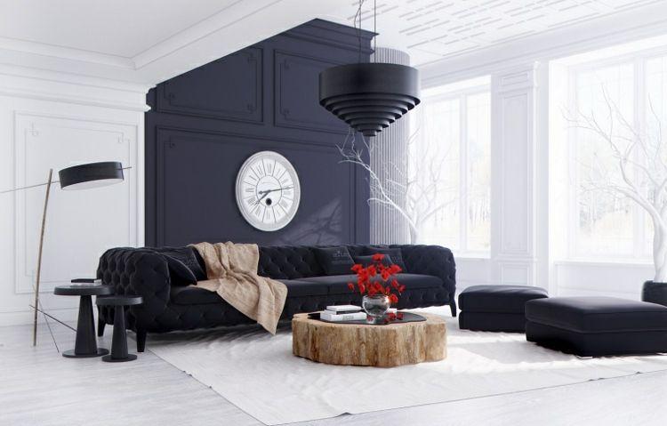 modernes wohnzimmer akzentwand kontrast xxl wanduhr modern - wanduhren wohnzimmer modern