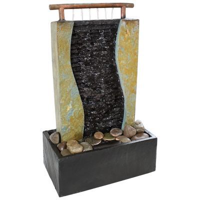 Sunnydaze Decor 17 in. Bending Slate Tabletop Water Fountain with LED Light