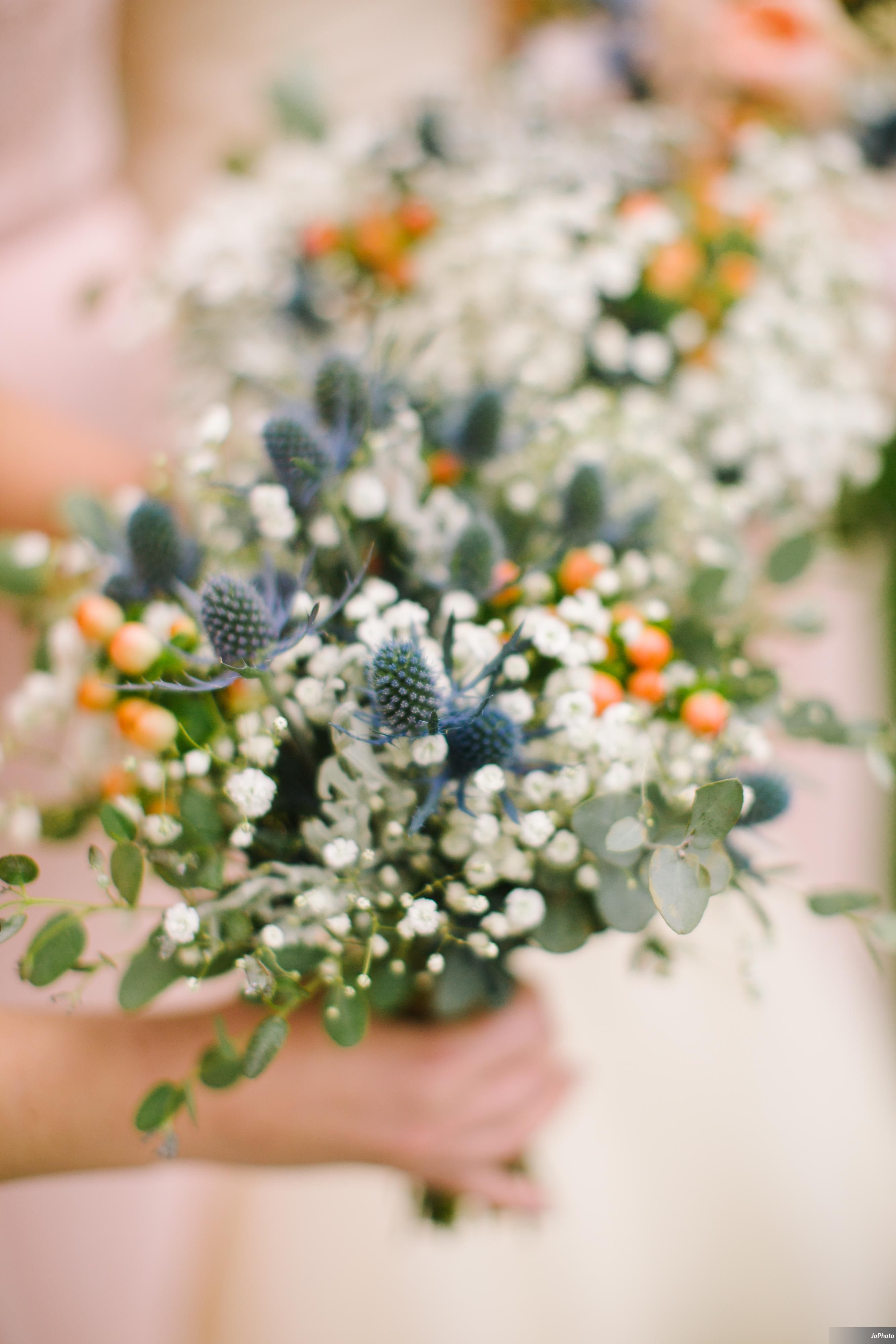 Wildflower Bouquets Blue Thistle Baby S Breath Gunni Eucalyptus Hypericum B Flower