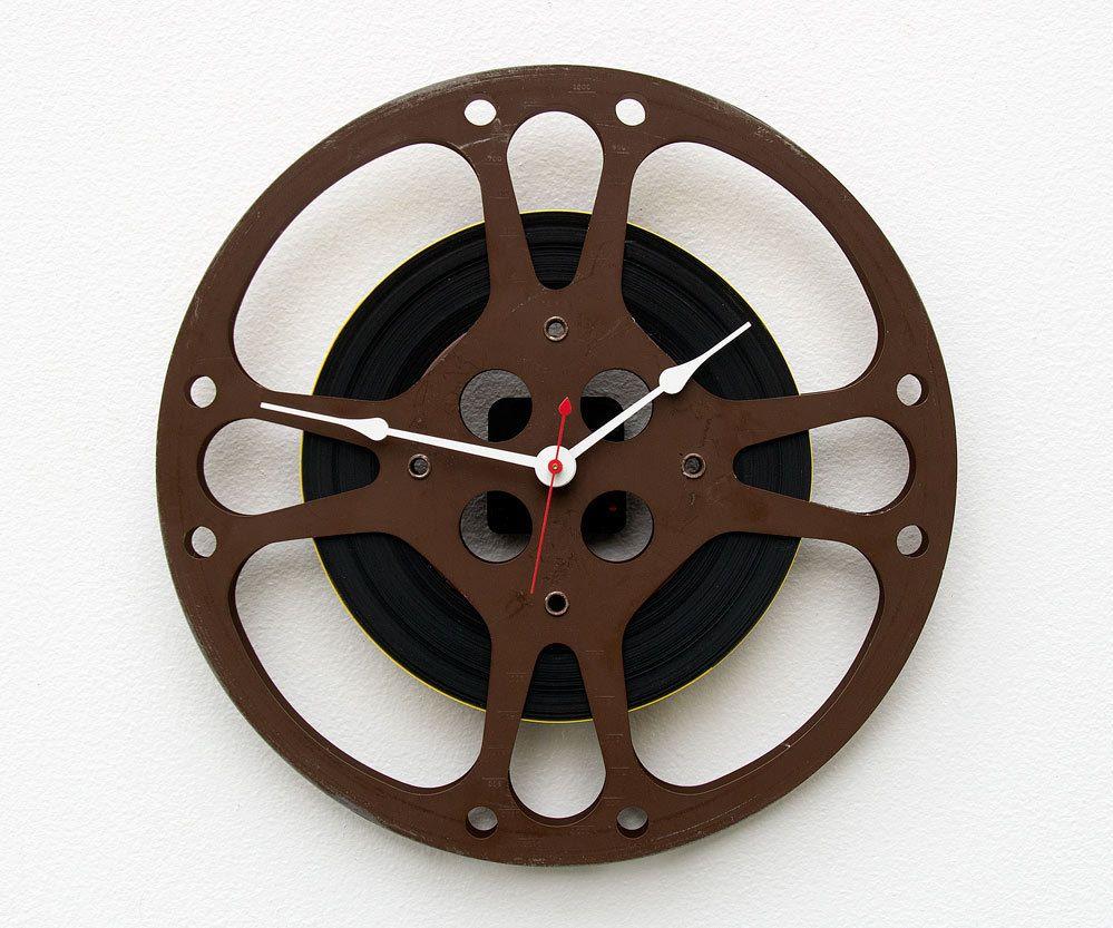 Movie Reel Wall Decor movie lover clock, unique wall clock, film reel wall clock