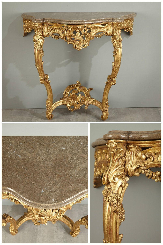 Console en bois doré de style Louis XV | Marble top, Napoleon and ...
