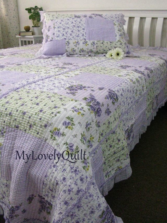 Soft Lilac Lavender Roses Ruffled Quilted Bedspread Quilt 2pc Set King Single Country Chic Bedroom Bed Spreads Bedroom Styles