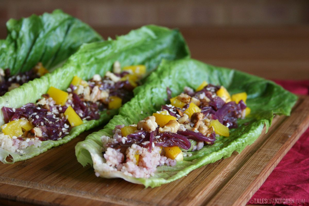 Purple-yellow-green rainbow on a plate. Cous cous and red cabbage salad 'boats'. Plus a giveaway.