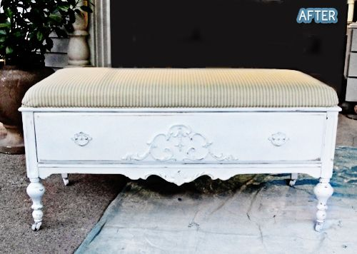 by an old dresser missing half its drawers - now a beautiful bench with storage.