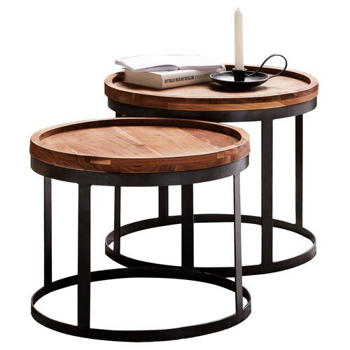 Alpen Home Akola 2 Piece Nest Of Tables In 2020 Table Oak Side Table