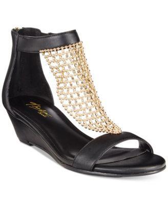8e34d1074692  60 Thalia Sodi Tibby Gold-Mesh Embellished Wedge Sandals