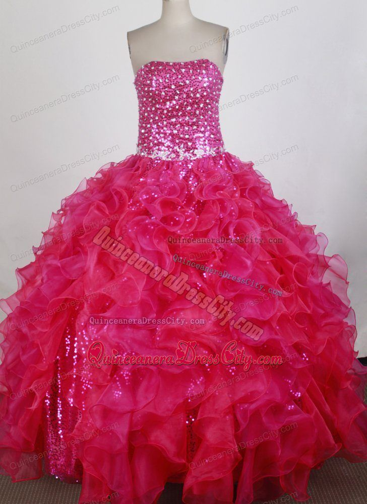 Exquisite Hot pink Appliques with Sequins Accent Sweet 16 Dresses ...
