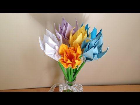 折り紙 花 立体の花束 簡単な折り方(niceno1)Origami flower bouquet - YouTube