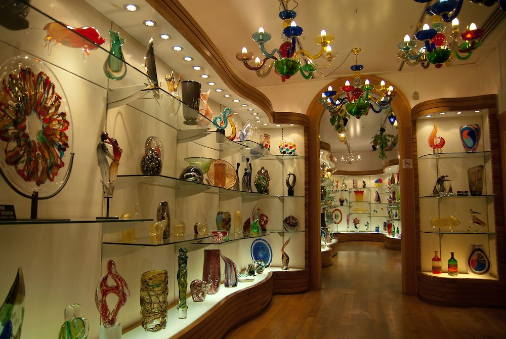 Murano Glass Factory.Inside The Shop Of The Vecchia Murano Glass Factory In