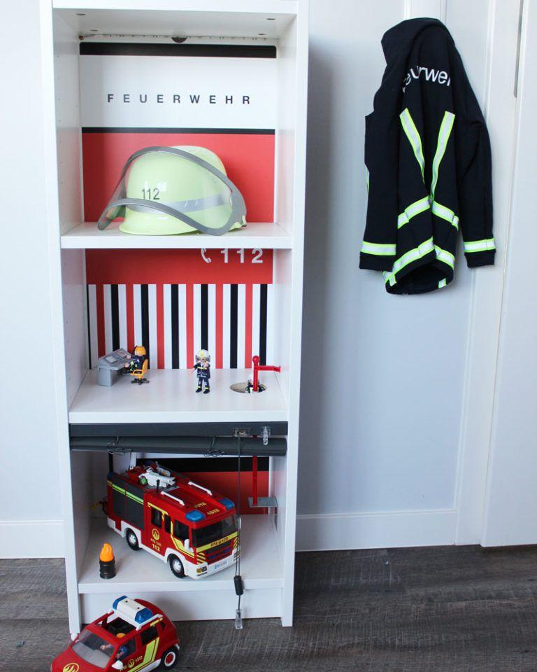 Feuerwehrstation selber basteln Kinderzimmer speicher