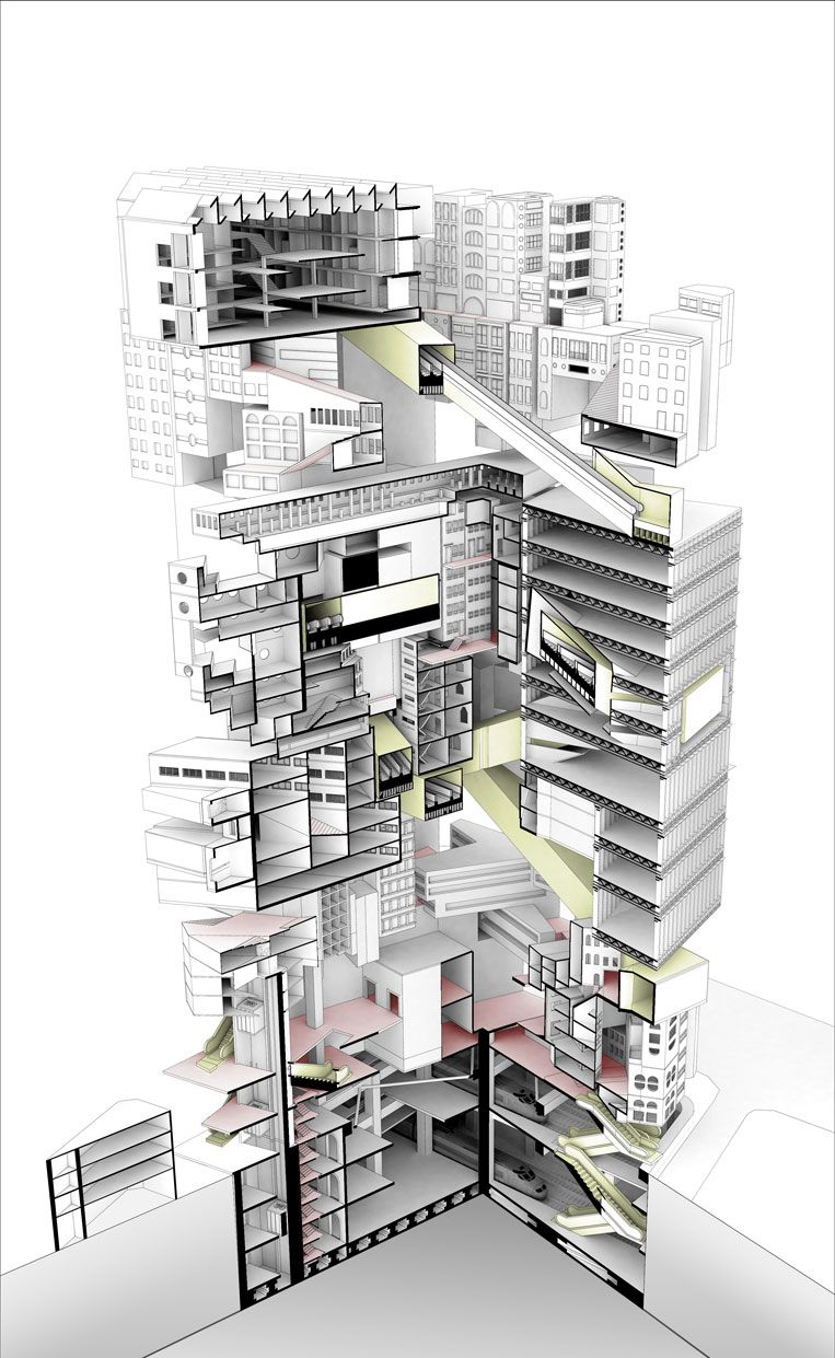 architecture section diagram coil pack wiring graphic illustration drawing render