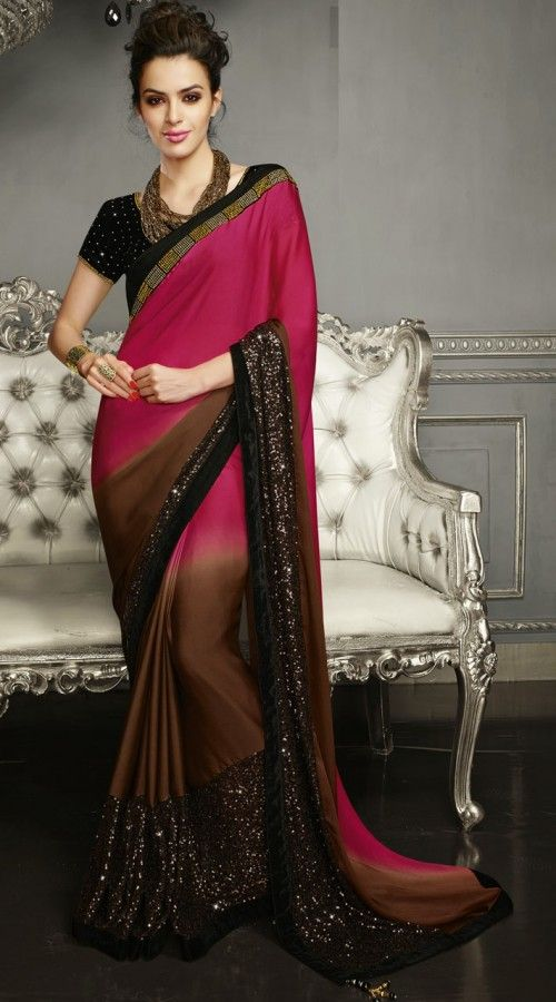 6dd8e4b806 Brown And Dark Pink Georgette Satin Sequins Work Party Wear Saree ...