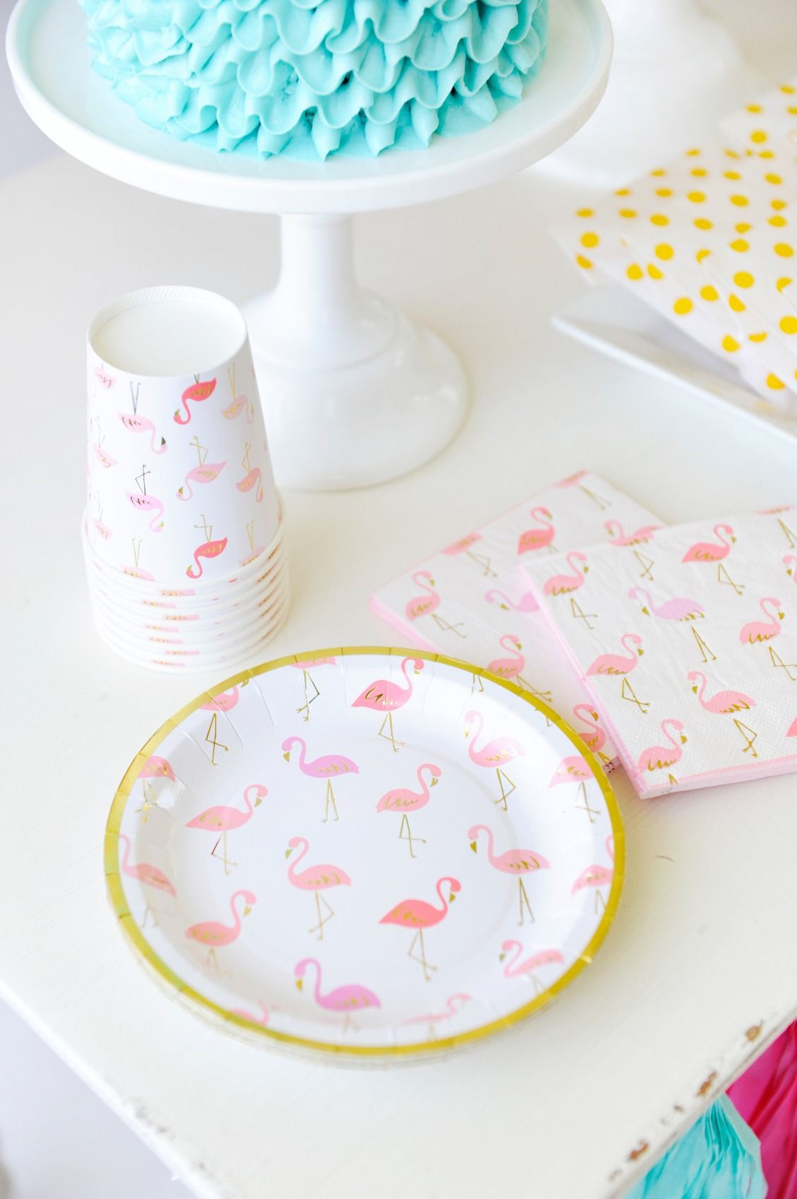 Pink White And Gold Flamingo Printed Paper Plates Cups