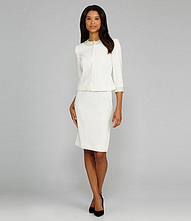 Tahari By Asl Beadembellished Skirted Suit Dillards Level 2