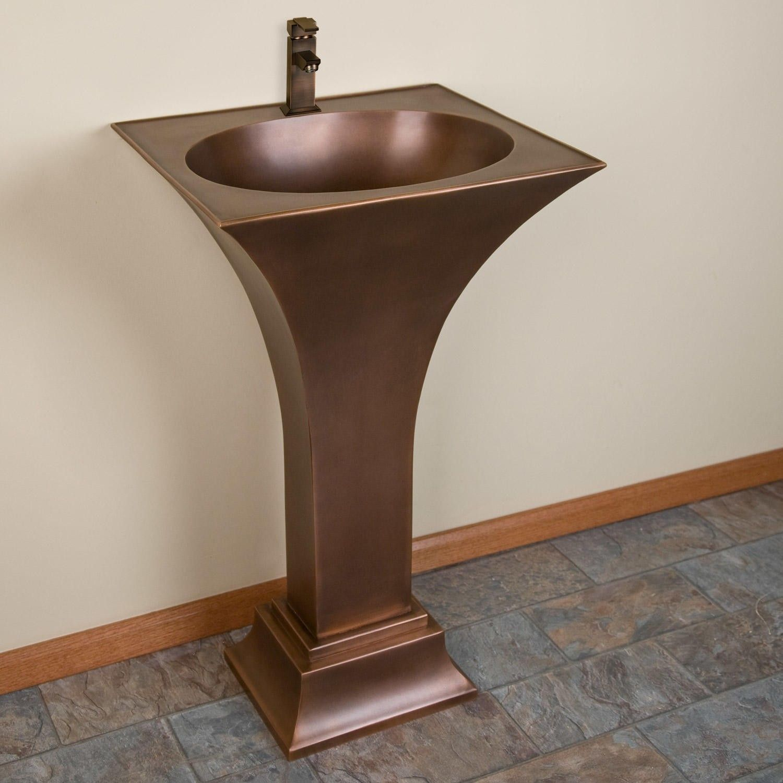 flared smooth copper pedestal sink