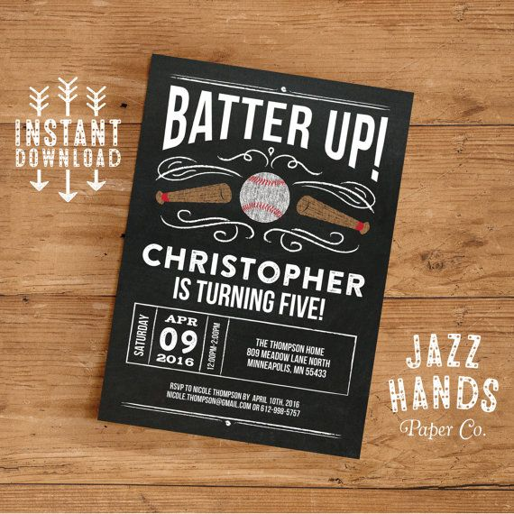 Baseball Birthday Invitation Template  Diy Printable  Baseball