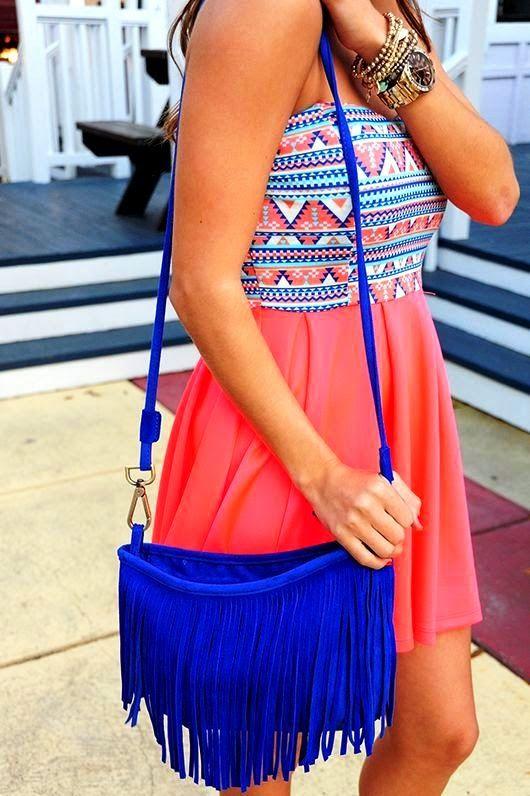 Adorable Aztec Dress With Blue Handbag