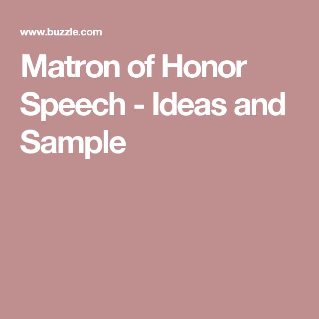 Matron Of Honor Speech