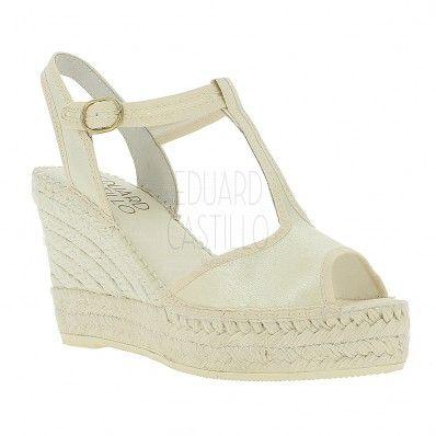 [Modelo IDOIA] alpargatas de novia 10 cm raso color marfil #EduardCastilloBCN bridal espadrilles sandalias sandals boda wedding boho chic cuñas wedges