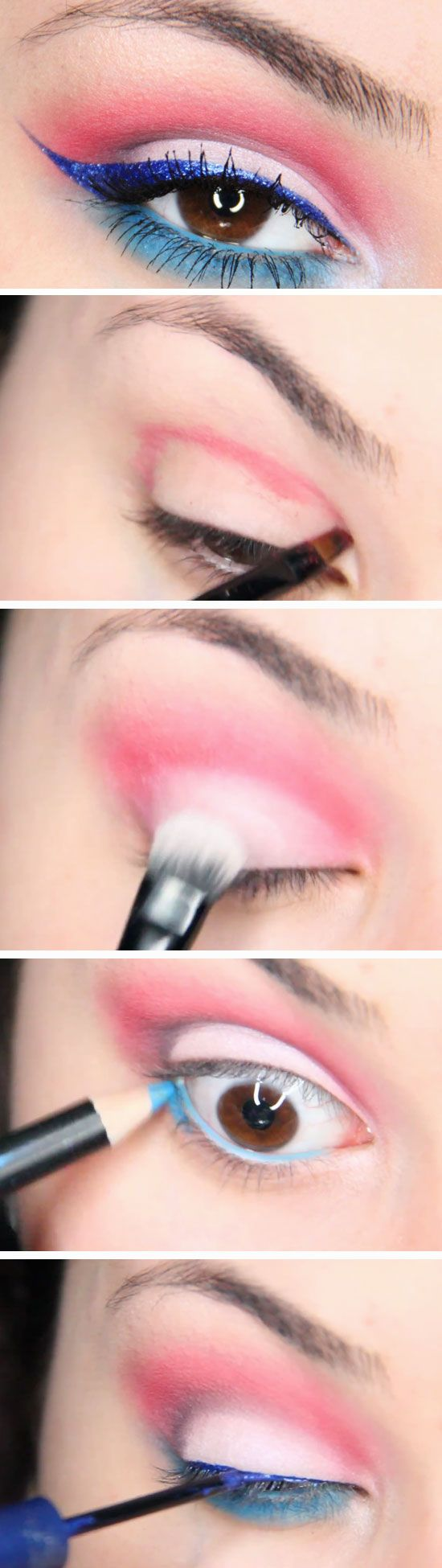 Easy Red White & Blue 20 Patriotic Eye Makeup Ideas Step